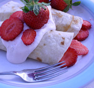 Strawberry-cream Crepes