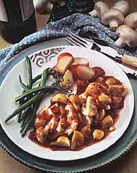 Chicken with Mushrooms and Red Wine