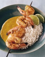 Grilled Jumbo Shrimp with Coconut Milk-Curry Sauce