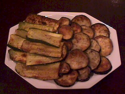 Fried aubergines