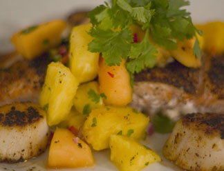 Grilled Fish with Pineapple-Cilantro Sauce